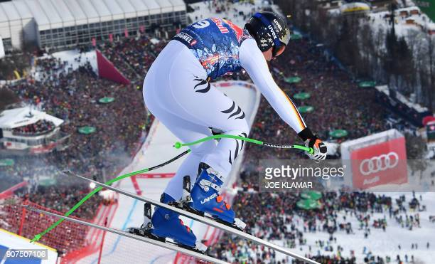 Thomas Dressen of Germany competes in the men's downhill event at the FIS Alpine World Cup in Kitzbuehel Austria on January 20 2018 / AFP PHOTO / APA...