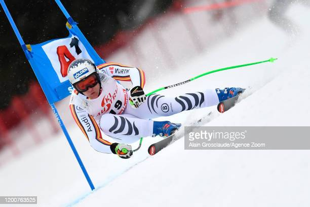 Thomas Dressen of Germany in action during the Audi FIS Alpine Ski World Cup Men's Super G on February 14, 2020 in Saalbach Austria.