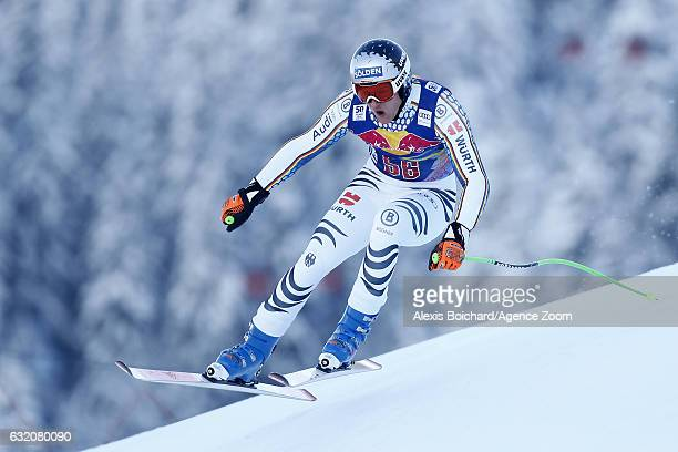 Thomas Dressen of Germany in action during the Audi FIS Alpine Ski World Cup Men's Downhill Training on January 19 2017 in Kitzbuehel Austria
