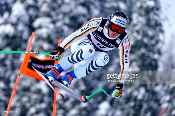 Thomas Dressen of Germany in air during the FIS Ski World Cup Alpine Mens Downhill Training in Kvitfjell Norway Friday March 9 2018 / AFP PHOTO / NTB...