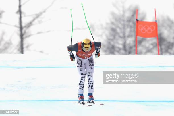 Thomas Dressen of Germany makes a run during the Men's Downhill 3rd Training on day one of the PyeongChang 2018 Winter Olympic Games at Jeongseon...