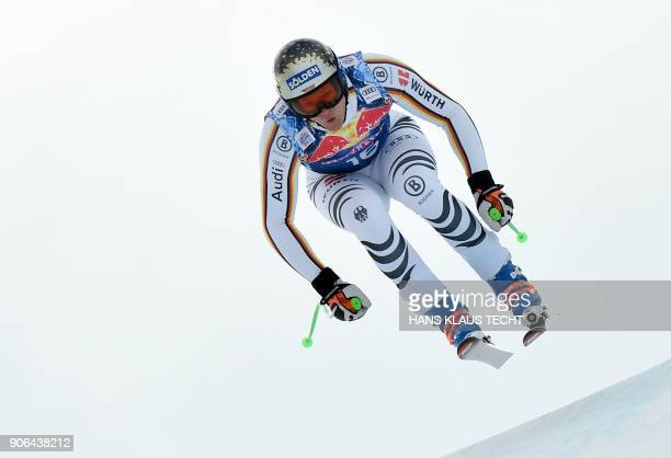Thomas Dressen of Germany performs during a training session of the FIS Alpine World Cup Men's downhill event in Kitzbuehel Austria on January 18...