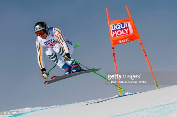Thomas Dressen of Germany races during the Men's Downhill training round ahead of the FIS World Cup final event in Åre Sweden on March 13 2018 / AFP...
