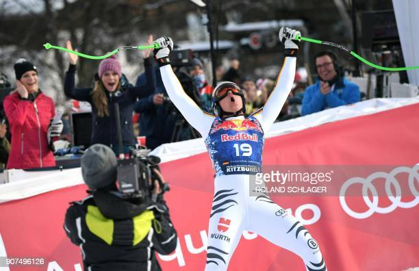 Thomas Dressen of Germany reacts after competing in the men's downhill event at the FIS Alpine World Cup in Kitzbuehel Austria on January 20 2018 /...