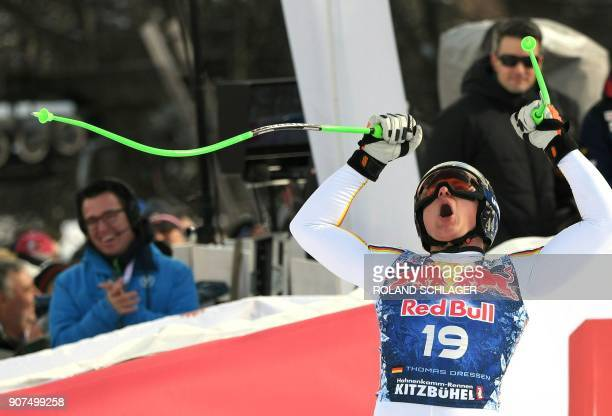 Thomas Dressen of Germany reacts after competing in the men's downhill event at the FIS Alpine World Cup in Kitzbuehel Austria on January 20 2018...