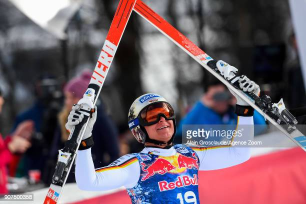 Thomas Dressen of Germany takes 1st place during the Audi FIS Alpine Ski World Cup Men's Downhill on January 20 2018 in Kitzbuehel Austria