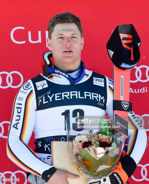 Thomas Dressen of Germany takes 1st place during the Audi FIS Alpine Ski World Cup Men's Downhill on March 10 2018 in Kvitfjell Norway