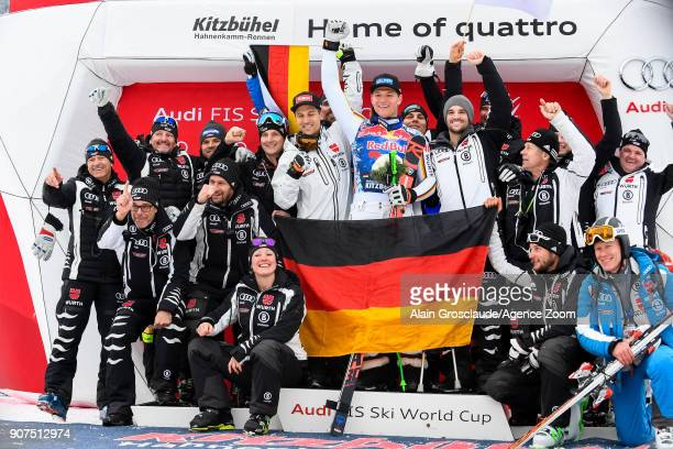 Thomas Dressen of Germany takes 1st place Germany Team during the Audi FIS Alpine Ski World Cup Men's Downhill on January 20 2018 in Kitzbuehel...