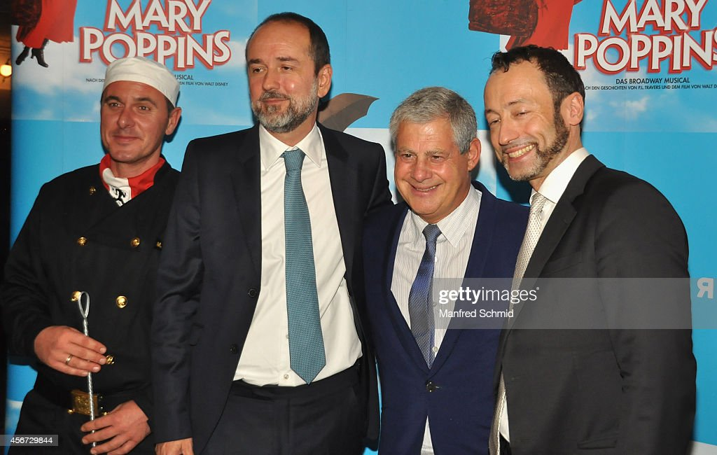 Thomas Drozda, Sir Cameron Mackintosh and Christian Struppeck pose for a photograph during the Mary Poppins musical premiere at Ronacher Theater on October 1, 2014 in Vienna, Austria.