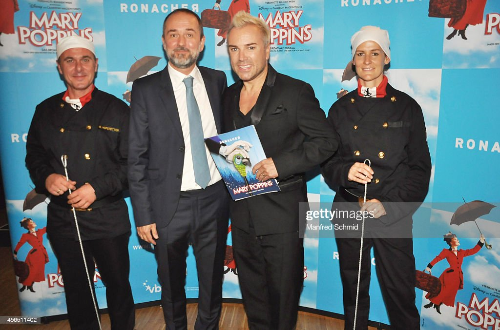 Thomas Drozda, Uwe Kroeger and Christian Struppeck pose for a photograph during the Mary Poppins musical premiere at Ronacher Theater on October 1, 2014 in Vienna, Austria.