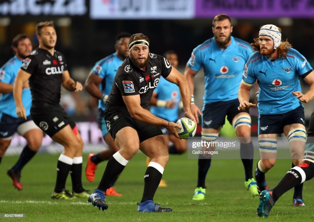 Thomas du Toit of the Cell C Sharks during the Super Rugby match between Cell C Sharks and Vodacom Bulls at Growthpoint Kings Park on June 30, 2017 in Durban, South Africa.