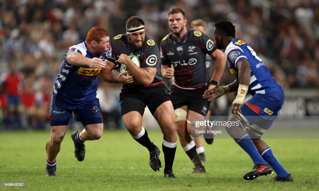 Thomas du Toit of the Cell C Sharks during the Super Rugby match between Cell C Sharks and DHL Stormers at Jonsson Kings Park on April 21, 2018 in Durban, South Africa.