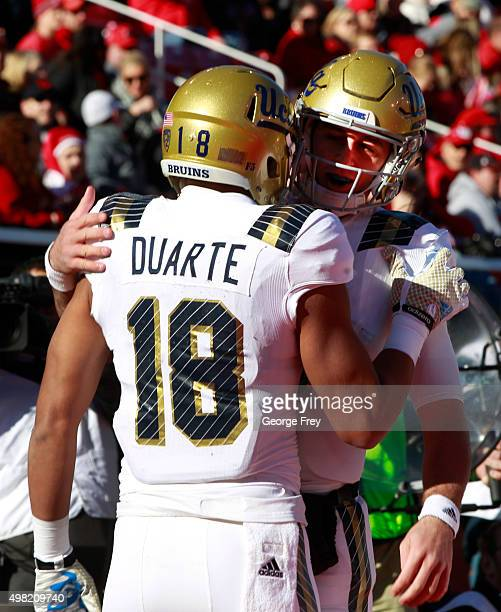 Thomas Duarte of the UCLA Bruins celebrates his touchdown with his quarterback Josh Rosen against the Utah Utes during the first half of a college...