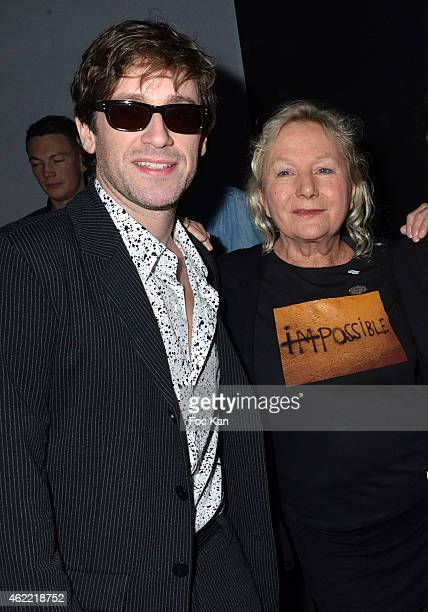 Thomas Dutronc and Agnes B attend the Agnes B Menswear Fall/Winter 20152016 show as part of Paris Fashion Week on January 25 2015 in Paris France