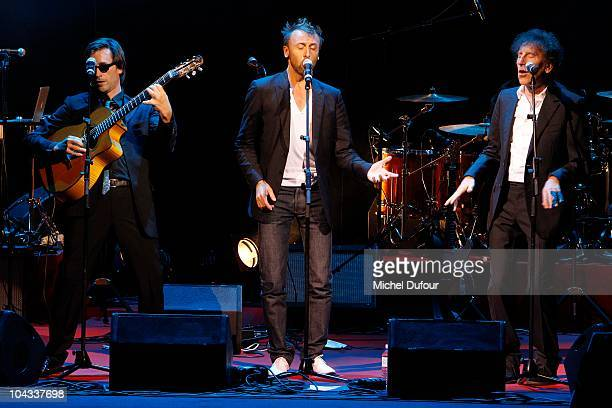 Thomas Dutronc Pierre and Alain Souchon on stage during IFRAD 6th Gala at Opera Comique on September 21 2010 in Paris France