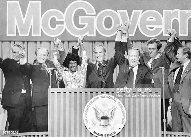 Thomas Eagleton Hubert Humphrey Shirley Chisholm Senator George McGovern S Jackson Ed Muskie at Democratic National Convention