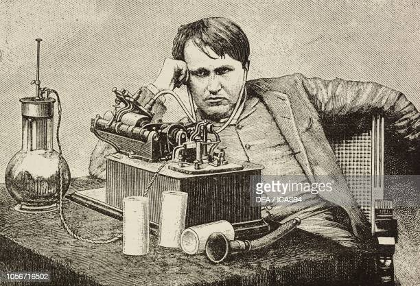 Thomas Edison American inventor listening to the first message sent from England New York United States engraving from L'Illustrazione Italiana year...