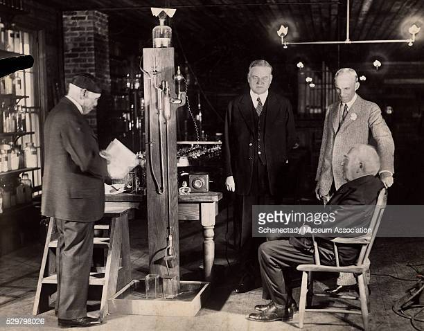 Thomas Edison and friend Francis Jehl prepare to re-enact the first illumination of the incandescent lamp in 1929, 50 years after the original event....