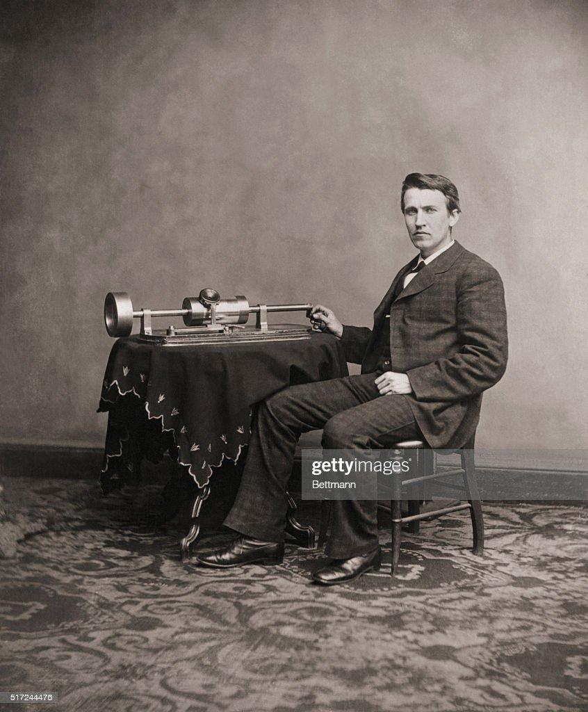 Thomas Edison and His Phonograph : News Photo