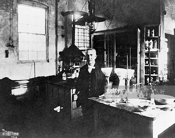 Thomas Edison in his chemistry laboratory at West Orange, New Jersey, ca. 1890s.