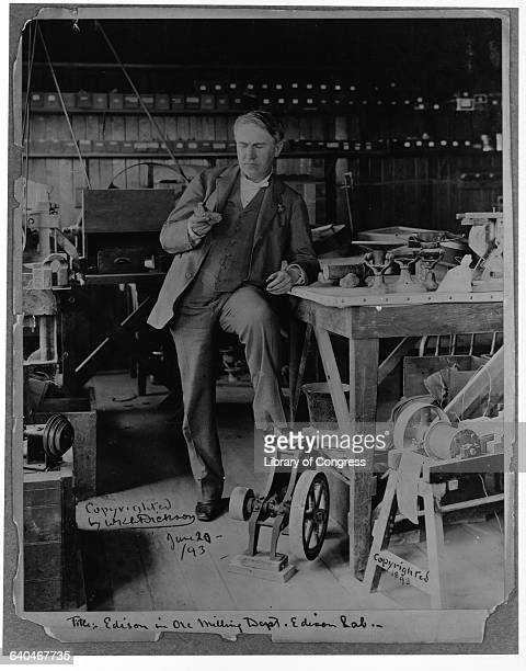 Thomas Edison stands in the ore milling department of his laboratory Edison spent many years on a magnetic mining scheme that proved futile