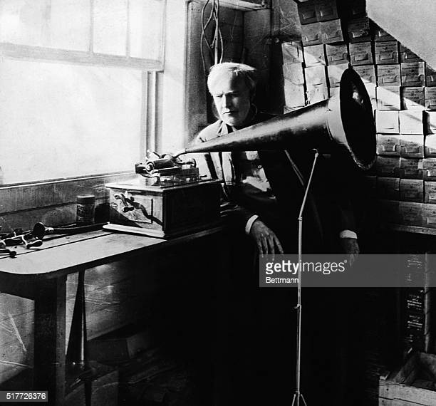 Thomas Edison with his first phonograph Photograph