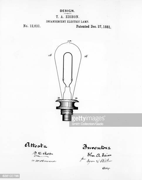 Thomas Edison's design of the incandescent electric lamp number 12 631 which was patented on December 27 1881 Image courtesy US Department of Energy