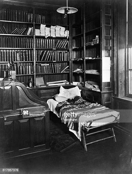 Thomas Edison's desk and sleeping cot in his lab in East Orange Undated photograph