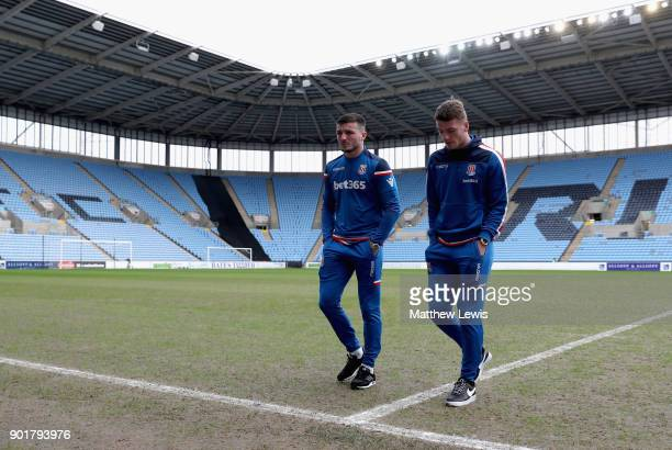 Thomas Edwards and Josh Tymon of Stoke City inspect the pitch prior to the The Emirates FA Cup Third Round match between Coventry City and Stoke City...