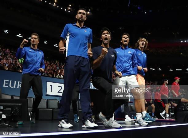 Thomas Enqvist Marin Cilic Fernando Verdasco Rafael Nadal and Alexander Zverev of Team Europe celebrate as Roger Federer of Team Europe wins his mens...