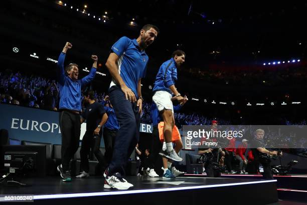 Thomas Enqvist Marin Cilic Fernando Verdasco Rafael Nadal of Team Europe celebrate as Roger Federer of Team Europe wins his mens singles match...