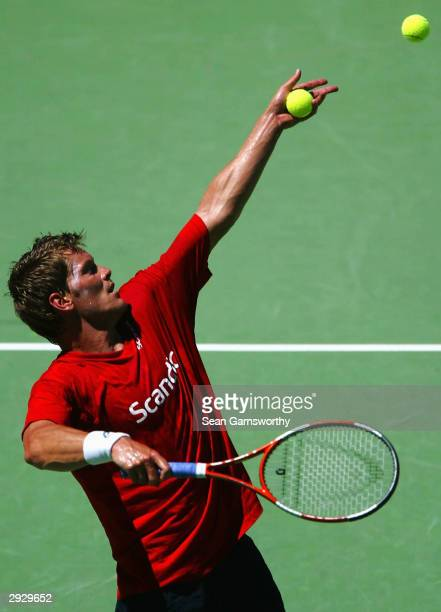 Thomas Enqvist of Sweden in action during Davis Cup training session at at Memorial Drive February 5 2004 in Adelaide Australia