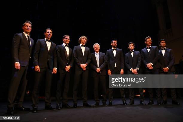 Thomas Enqvist Rafael Nadal Roger Federer Alexander Zverev Bjorn Borg Marin Cilic Dominic Thiem Tomas Berdych and Fernando Verdasco of Team Europe...