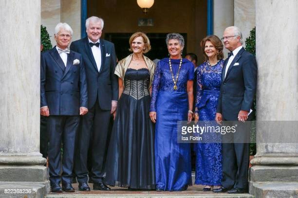 Thomas Erbe, Bavarian minister Horst Seehofer with his wife Karin Seehofer, Mayor of Bayreuth Brigitte Merk-Erbe, Queen Silvia of Sweden and her...