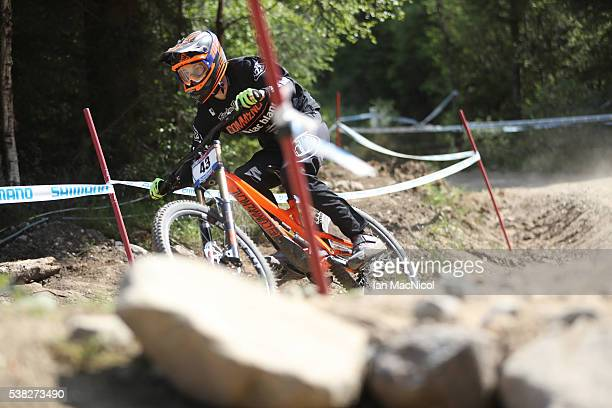 Thomas Estaque of France competes in the Men's Downhill at the UCI Mountain Bike World Cup on June 5 2016 in Fort William Scotland
