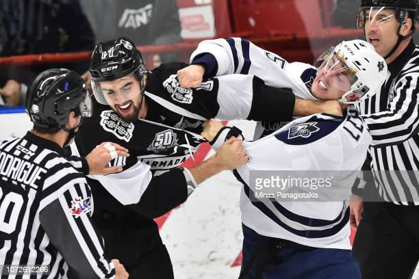 Thomas Ethier of the BlainvilleBoisbriand Armada and Jordan Lepage of the Rimouski Oceanic fight during the QMJHL game at Centre d'Excellence Sports...