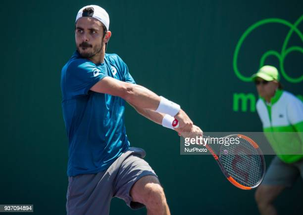 Thomas Fabbiano from Italy playing against Nikoloz Basilashivili from Georgia during his first round match at the Miami Open on March 23 2018 in Key...