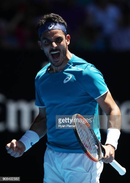 Thomas Fabbiano of Italy celebrates winning a point in his first round match against Alexander Zverev of Germany on day two of the 2018 Australian...