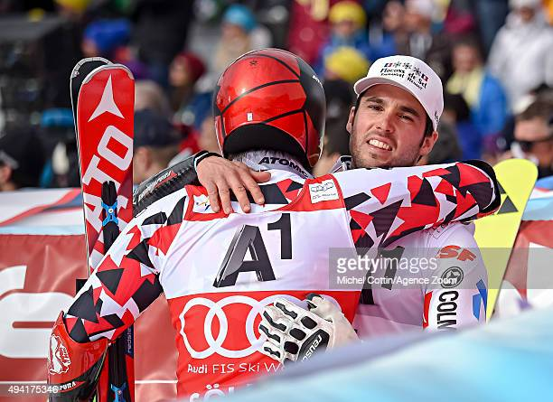 Thomas Fanara of France takes 2nd place and Marcel Hirscher of Austria takes 3rd place during the Audi FIS Alpine Ski World Cup Men's Giant Slalom on...