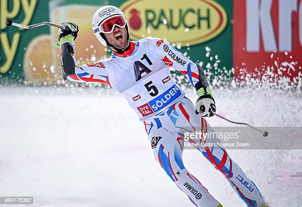 Thomas Fanara of France takes 2nd place during the Audi FIS Alpine Ski World Cup Men's Giant Slalom on October 25 2015 in Soelden Austria