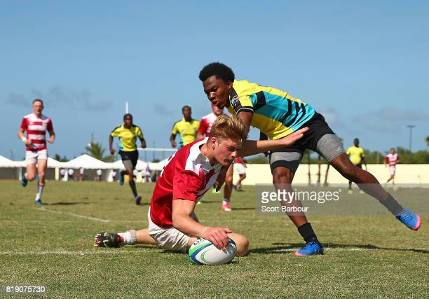 Thomas Fawcett of England scores a try during the match between England and Bahamas in the Rugby Sevens on day 2 of the 2017 Youth Commonwealth Games...