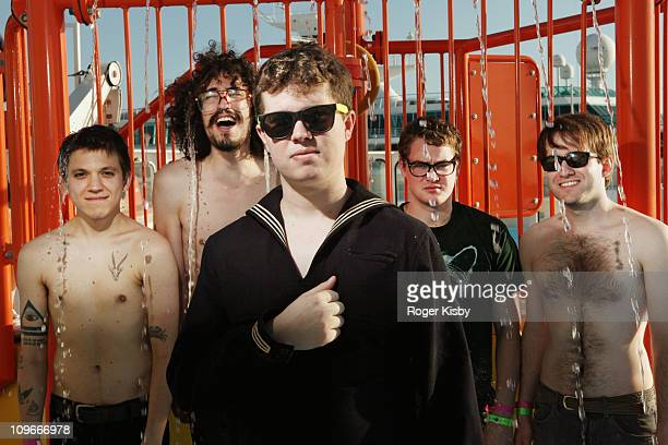 Thomas Fekete Marcos Marchesani John Paul Pitts TJ Schwarz and Kevin Williams of Surfer Blood pose for a portrait on the cruise ship at the 2011...