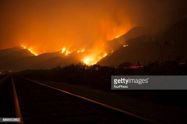 Thomas Fire burning near Highway 101, spreading towards houses by the ocean near Highway 1 on December 6, 2017 in Ventura, California, United States....