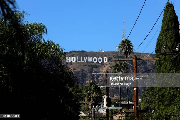 Thomas Fisk Goff's famous 'Hollywood Sign' atop Mount Lee in the Hollywood Hills area of the Santa Monica Mountains photographed from a random street...