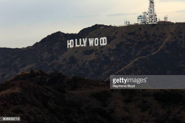 Thomas Fisk Goff's famous 'Hollywood Sign' atop Mount Lee in the Hollywood Hills area of the Santa Monica Mountains photographed from the Griffith...