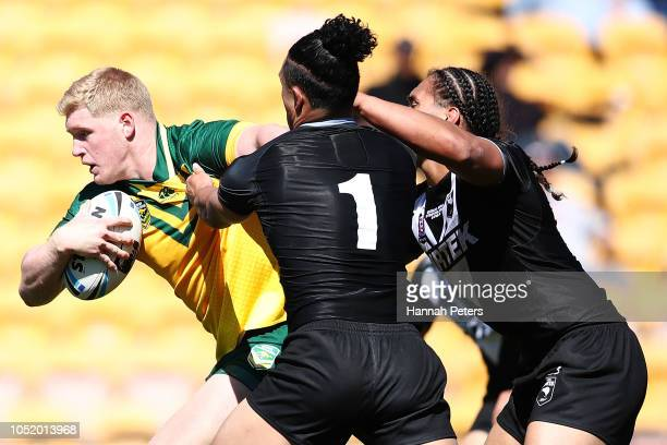 Thomas Flegler of the Australian Juniors charges forward during the international Rugby League Test Match between the New Zealand Juniors and the...