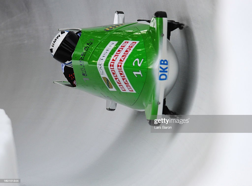 Thomas Florschuetz and Andreas Bredau of Germany compete during the Two Men Bobsleigh heat 3 of the IBSF Bob & Skeleton World Championship at Olympia Bob Run on January 27, 2013 in St Moritz, Switzerland.