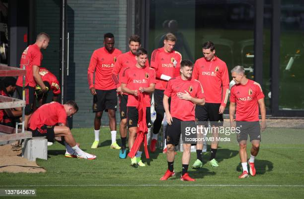 """Thomas Foket of Belgium and Leandro Trossard of Belgium during a training session of the Belgian national soccer team """" The Red Devils """" ahead of the..."""