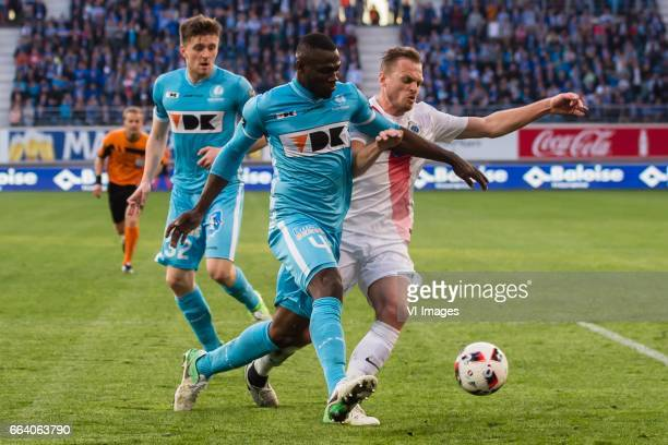 Thomas Foket of KAA Gent Anderson Esiti of KAA Gent Laurens de Bock of Club Bruggeduring the Jupiler Pro League Play Off I match between KAA Gent and...