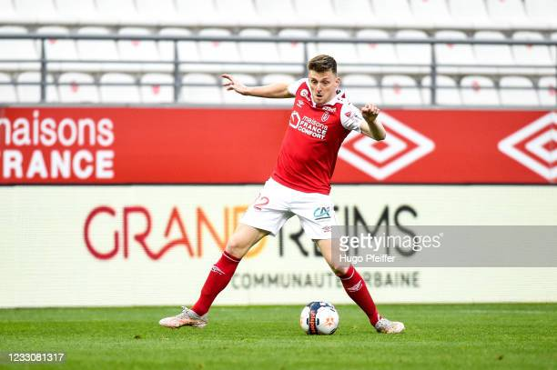 Thomas FOKET of Reims during the Ligue 1 match between Reims and Girondins Bordeaux at Stade Auguste Delaune on May 23, 2021 in Reims, France.